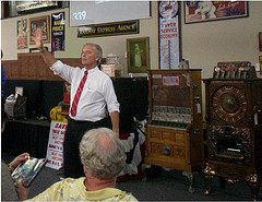 Auctioneer presiding in an ongoing auction